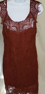 sexy rust colored lace dress